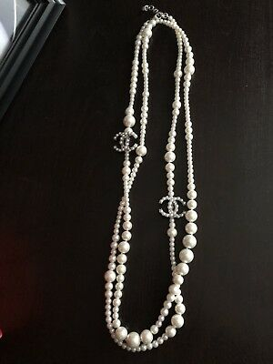 """Chanel Costume Jewelry-Faux Pearl Necklace 60""""- Rare And Gorgeous!"""