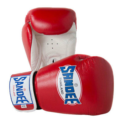 Sandee Authentic Leather Boxing Gloves Red Muay Thai Kick Sparring Mitts