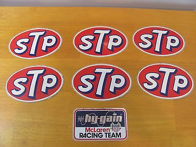 Lot of 6 Vintage STP Stickers + 1 hy-gain McLaren Racing Team Sticker