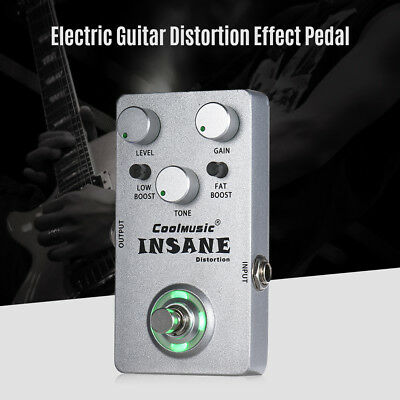 Electric Guitar Distortion Effect Pedal True Bypass Metal Silver Free Ship R0Z7