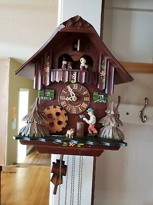 German Animated Woodsman Musical Cuckoo Clock With Waterwheel & Dancers