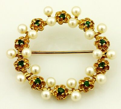 14k yellow gold green emerald round pearl flower wreath circle pin brooch estate