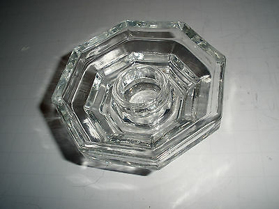 """Vintage """"Avon"""" Octagonal Shaped Taper Holder Clear Glass Mint Condition!"""