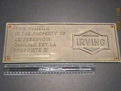 "Vintage Irving Oil Sign Brass Motor Can Tank Large 16"" X 6"" Advertising Heavy"