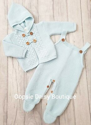 cab7af81a45 BABY BOYS STUNNING Spanish Knitted Dungarees   Pom Pom Cardigan Sets ...