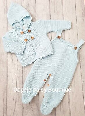 5e4d6413245c SPANISH STYLE BABY Boys Blue Knitted Dungarees   Pom Pom Cardigan ...