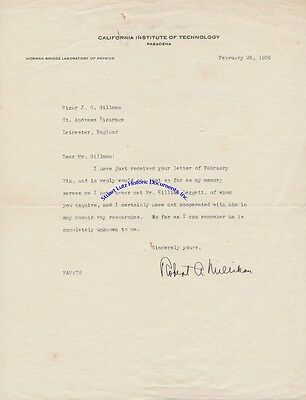 "Robert Millikan signed letter re ""cosmic ray"" research & man did not assist him"