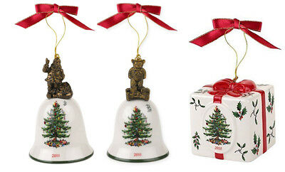 Spode Christmas Tree BELL & Holiday Gift BOX Ornament Annual 2018 New