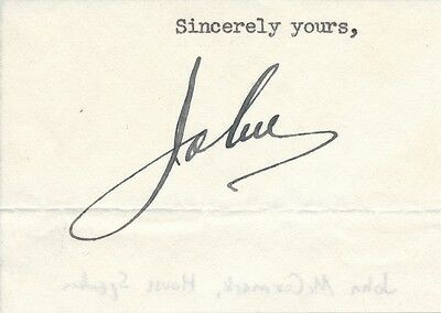 John McCormack - clipped signature of the Congressman & Speaker of the House