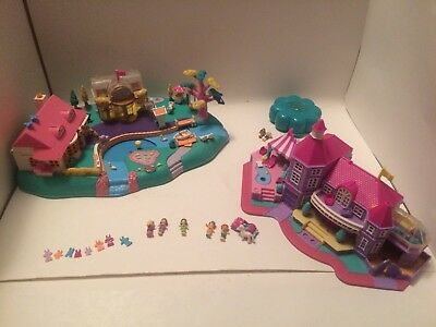 Polly Pocket  Vintage 7 people clothing car horse 2 houses compact Bluebird lot
