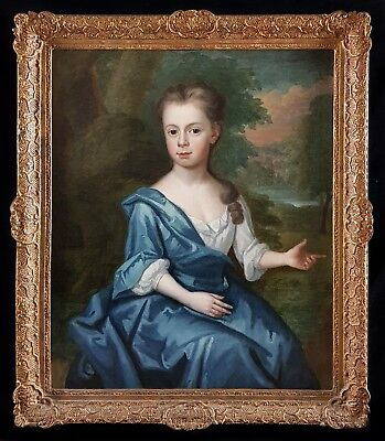 18th Century English Portrait of Girl in Landscape Kneller Antique Oil Painting