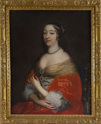 Large 17th Century c.1660 French Portrait of Lady Beaubrun Antique Oil Painting