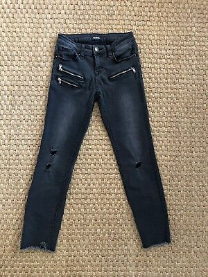 Hudson Girls Gray Black Skinny Jeans Size 12 Distressed