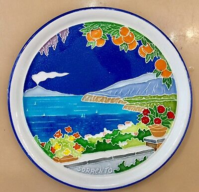 Vietri Pottery-8 inch Plate with Sorrento scenery.Made/Painted by hand in Italy