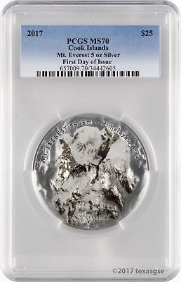 2017 $25 Cook Islands 7 Summits Everest 5oz .999 Silver Coin PCGS MS70 - FD