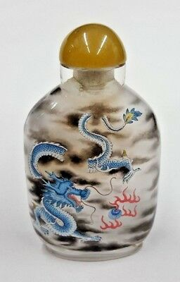 Glass Inside Painted Chinese Snuff Bottle w/ Dragon Scene