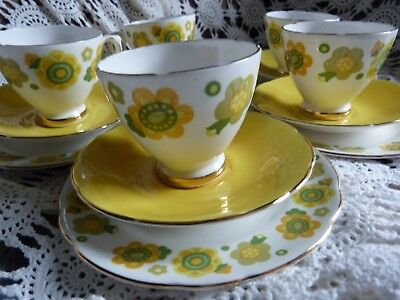 Sutherland Four Trios White Yellow Green Funky China Vintage Tea set Flowers 70s