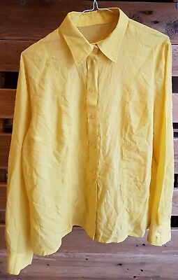 Vintage Womens 1970s Canary Yellow Shirt -SIZE 18- *Blouse Made In Japan*