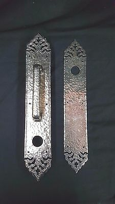 Large Front and Back Solid Brass Hammered Design Door Handle & Plates Set of Two