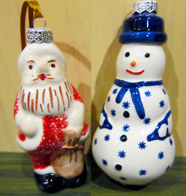 Boleslawiec Polish Pottery Christmas Holiday Ornament: SANTA, Snowman New