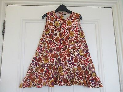 18-24m: Floral cord dress/pinafore: Ivory + brown/orange flowers: Little Nibs
