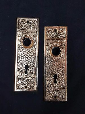 Eastlake Solid Brass Door Knob Back Plates Set of 2
