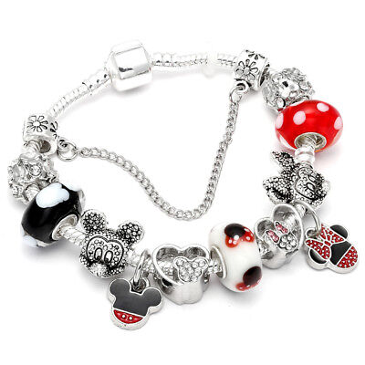 Disney Mickey Pandora & Minnie Mouse Heart Palace Charm Bracelet Silver Glass