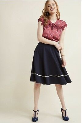 bff7e2b31c Modcloth Just This Sway Trimmed A-Line Skirt in Navy Stripe Size Small New