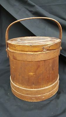 Large Firkin Sugar Bucket With Swing Arm Handle and Lid With Original Stain