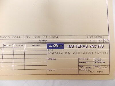 Vintage Blueprint Hatteras Yacht Boat Naval Nautical 09-23-1982 34X22 #M514