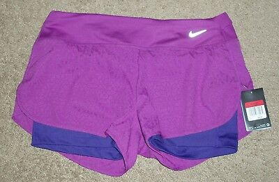 New NWT Womens Large L Nike Running Reflective Lined Athletic Sports Yoga Shorts