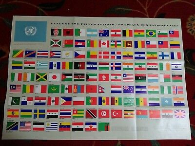 Flags of the United Nations 1965 Poster 27.25 x 19 in.