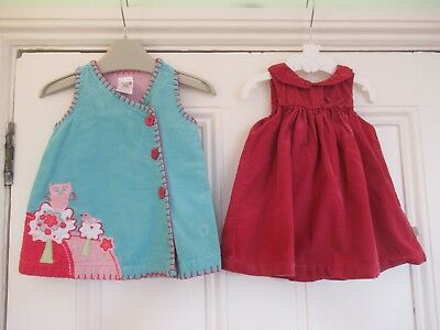 0-3m: 2 cute cord dresses: Red Peter Pan collar/Turquoise applique: M&S