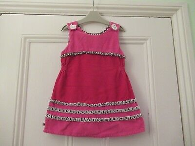 18-24m: Lovely bright cord dress with lining: Pink/red + spotty trim: Good cond.