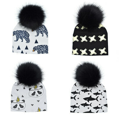 FJ- Infant Newborn Baby Boy Girl Pompom Cartoon Beanie Cap Cotton Hat Deluxe