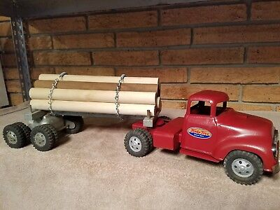 TONKA 1957 TOY FORD SEMI TRUCK W LOG HAULER TRAILER VINTAGE TOYS (As Is)