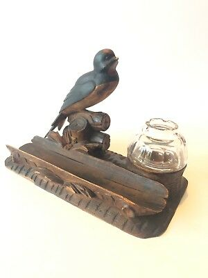 Victorian Black Forrest Carved Bird Ink Well Pen Holder 19th C