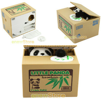 Cat Panda Mouse Monkey Dog Automated Stealing Coin Money Box Piggy Bank Gift