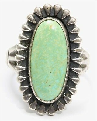 Vintage Navajo Bell Trading Post Sterling Silver Old Pawn Green Turquoise Ring