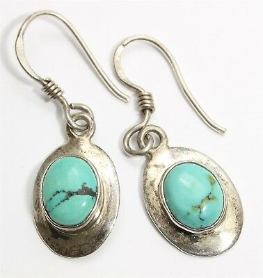 Vintage Navajo Sterling Silver Small Ornate Blue Green Turquoise Drop Earrings