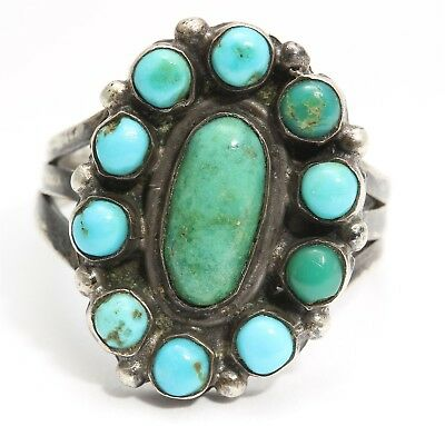 Vintage Navajo Sterling Silver Small Old Pawn Snake Eyes Turquoise Cluster Ring