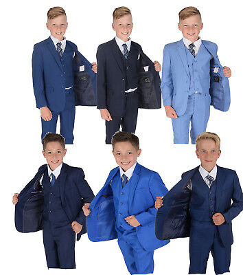 Boys Blue Suits Wedding PageBoy Party Prom 5 Piece Suit 2-14 Years