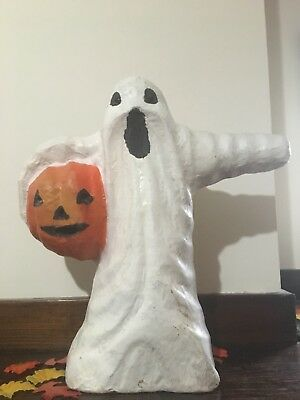 Vintage Paper Mache Ghost And Jack o Lantern JOL Vintage Halloween Folk