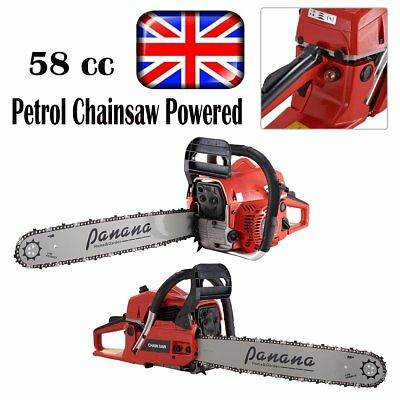 Petrol Chainsaw Powered by a 58 cc Motor Blade Guard 2 Chains Tool Kit Machine