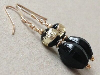 Art Deco Black & Gold Foil, Black Oval Faceted Glass 14ct Rolled Gold Earrings