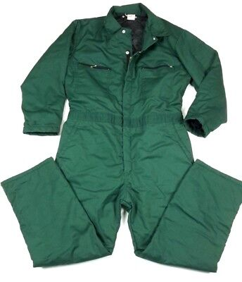 Vintage Unitog Green Insulated Quilted Work Coveralls Medium Regular Made USA