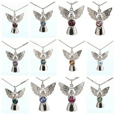 Swarovski Crystal Elements Sterling Silver Birthstone Guardian Angel Necklace