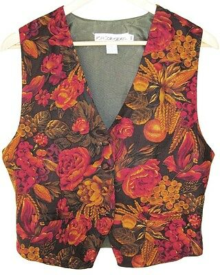 Vintage Boho Festival Green Brown Red Tan Floral Vest 10