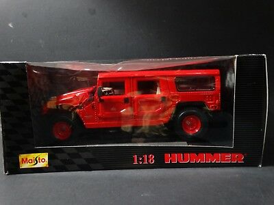 Maisto Hummer H1 Station Wagon 4x4 1:18 Scale Diecast Red Model SUV
