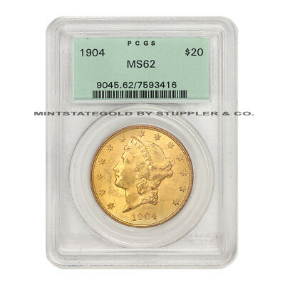 1904 $20 Liberty PCGS MS62 Choice Gold Double Eagle OGH Original Green Holder